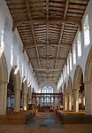 View down the nave inside Holy Trinity church,  Blythburgh, Suffolk, England