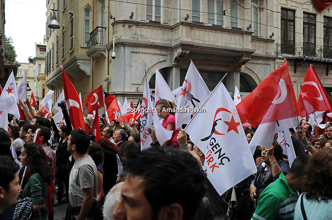 Nationalist demonstrators march up Istiklal Caddesi from Tunel in support of Ataturk's principles of a secular republic and against the ruling Justice and Development Party, AKP in Turkish, on Republic Day in Istanbul, Turkey on October 29, 2012.