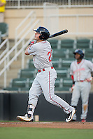 Chad De La Guerra (20) of the Greenville Drive follows through on his swing against the Kannapolis Intimidators at Intimidators Stadium on June 7, 2016 in Kannapolis, North Carolina.  The Drive defeated the Intimidators 5-2 in game two of a double header.  (Brian Westerholt/Four Seam Images)