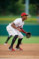 Indianapolis Indians third baseman Ke'Bryan Hayes (24) during an International League game against the Syracuse Mets on July 16, 2019 at Victory Field in Indianapolis, Indiana.  Syracuse defeated Indianapolis 5-2  (Mike Janes/Four Seam Images)