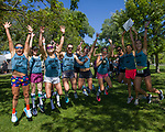 The Kiss My Dust team celebrates at the 2019 Reno Tahoe Odyssey finish at Idlewild Park in Reno on Saturday, June 1, 2019.