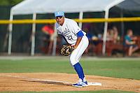 Burlington Royals first baseman Josh Banuelos (27) on defense against the Greeneville Astros at Burlington Athletic Park on June 29, 2014 in Burlington, North Carolina.  The Royals defeated the Astros 11-0. (Brian Westerholt/Four Seam Images)