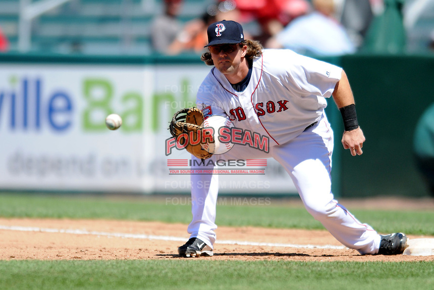 Pawtucket Red Sox first baseman Mark Hamilton #40 during a game versus the Louisville Bats at McCoy Stadium in Pawtucket, Rhode Island on August 14, 2013.  (Ken Babbitt/Four Seam Images)