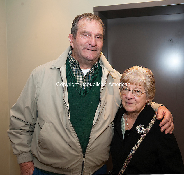 NEW HARTFORD, CT-031214JS23-Dave and Jan Ravasio of Barkhamsted at the annual St. Patrick's Day dinner at the New Hartford Senior Center. <br /> Jim Shannon Republican-American