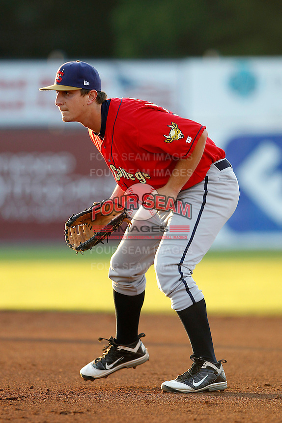 State College Spikes first baseman Alex Dickerson #57 during a game against the Batavia Muckdogs at Dwyer Stadium on August 29, 2011 in Batavia, New York.  State College defeated Batavia 2-1.  (Mike Janes/Four Seam Images)
