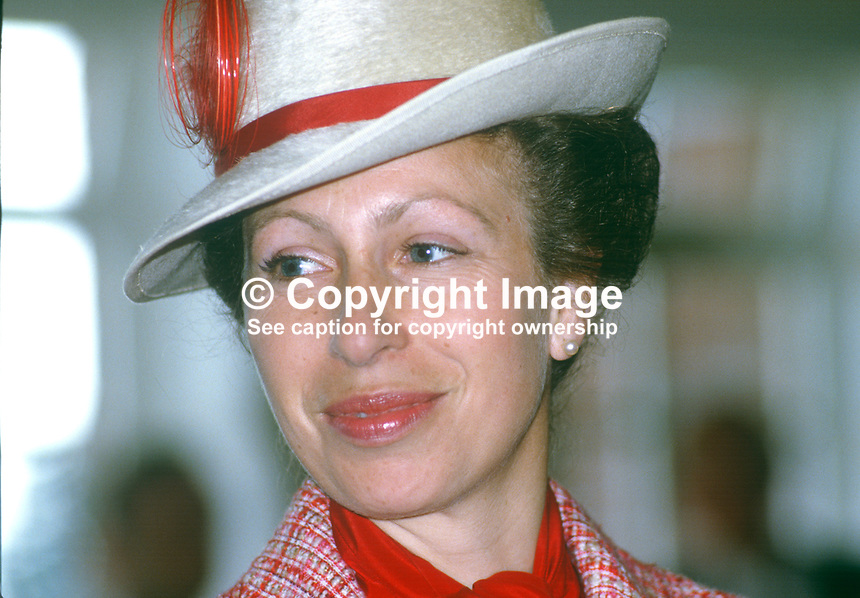 Princess Anne on a May 1985 visit to N Ireland is pictured at the official opening of an extension to Belfast Royal Academy's Preparatory Department at its Ben Madigan campus. 19850501d..Copyright Image from Victor Patterson, 54 Dorchester Park, Belfast, UK, BT9 6RJ..Tel: +44 28 9066 1296.Mob: +44 7802 353836.Voicemail +44 20 8816 7153.Skype: victorpattersonbelfast.Email: victorpatterson@me.com.Email: victorpatterson@ireland.com (back-up)..IMPORTANT: If you wish to use this image or any other of my images please go to www.victorpatterson.com and click on the Terms & Conditions. Then contact me by email or phone with the reference number(s) of the image(s) concerned.
