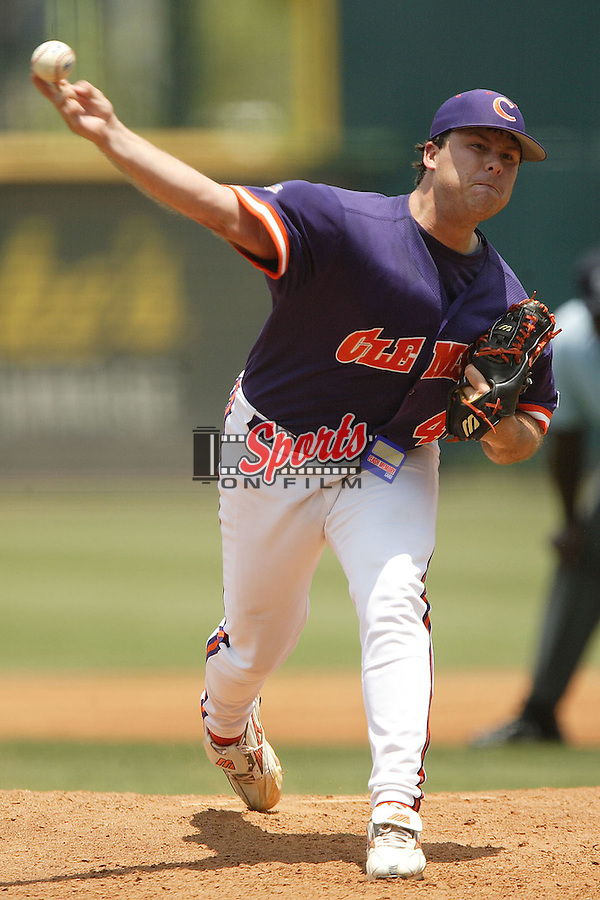 Clemson's Josh Cribb (48) delivers a pitch to the plate versus Georgia Tech at the 2006 ACC Baseball Championship at the Baseball Grounds of Jacksonville in Jacksonville, FL, Saturday, May 27, 2006.  Georgia Tech defeated Clemson 8-7 in 10 innings.