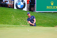 Henrik Stenson in a bunker at the 18th green during the BMW PGA Golf Championship at Wentworth Golf Course, Wentworth Drive, Virginia Water, England on 28 May 2017. Photo by Steve McCarthy/PRiME Media Images.