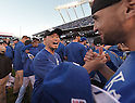 Norichika Aoki (Royals),<br /> OCTOBER 15, 2014 - MLB : Norichika Aoki (23) of the Kansas City Royals celebrates with his teammate after winning the Major League Baseball American League championship series Game 4 at Kauffman Stadium in Kansas City, Missouri, USA. <br /> (Photo by AFLO)