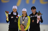 SCHAATSEN: SALT LAKE CITY: Utah Olympic Oval, 15-11-2013, Essent ISU World Cup, podium 500m, Beixing Wang (CHN), Sang-Hwa Lee (KOR), Heather Richardson (USA), ©foto Martin de Jong