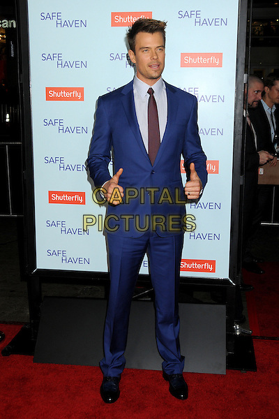 "Josh Duhamel.""Safe Haven"" Los Angeles Premiere held at the TCL Chinese Theatre, Hollywood, California, USA..February 5th, 2013.full length hands arms thumbs up purple tie shirt blue suit stubble facial hair   .CAP/ADM/BP.©Byron Purvis/AdMedia/Capital Pictures."