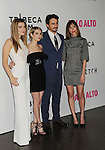 LOS ANGELES, CA- MAY 05: (L-R) Actors Zoe Levin, Emma Roberts, James Franco and writer/director Gia Coppola arrive at Tribeca Film's 'Palo Alto' - Los Angeles Premiere at the Director's Guild of America on May 5, 2014 in Los Angeles, California.
