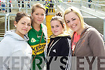 FANS: Kirsty An Chnoic, Chloe Ni? Mhurchu, Katie O'Connor and Avril Ni? Fhathaigh, Kerry fans at Fitzgerald Stadium, Killarney, on Sunday for the Kerry v Limerick clash.