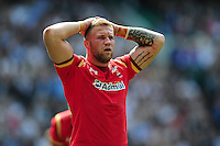 Ross Moriarty of Wales looks dejected after his side concede a try. Old Mutual Wealth Cup International match between England and Wales on May 29, 2016 at Twickenham Stadium in London, England. Photo by: Patrick Khachfe / Onside Images