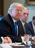 United States President Donald J. Trump speaks alongside Defense Secretary Jim Mattis as he addresses the press during a Cabinet meeting at the White House on December 6, 2017 in Washington, D.C. <br /> Credit: Kevin Dietsch / Pool via CNP