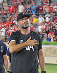 Football: Test Match, Liverpool FC - Borussia Dortmund. Liverpool head coach Jurgen Klopp and the team leave the pitch waving to fans after their exhibition match on July 19, 2019 at Notre Dame Stadium. <br /> Tim Vizer/DPA