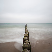 Baltic sea with overcast sky, Warnemünde, Mecklenburg-Vorpommern, Germany