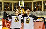 09.01.2020, BLZ Arena, Füssen / Fuessen, GER, IIHF Ice Hockey U18 Women's World Championship DIV I Group A, <br /> Siegerehrung, <br /> im Bild das deutsche Team feiert seinen Erfolg, Lilli Welcke (GER, #23) und Luisa Welcke (GER, #13)<br /> <br /> Foto © nordphoto / Hafner