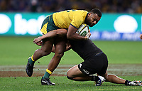 Samu Kerevi of the Wallabies is tackled by Anton Lienert-Brown of the All Blacks during the Rugby Championship match between Australia and New Zealand at Optus Stadium in Perth, Australia on August 10, 2019 . Photo: Gary Day / Frozen In Motion