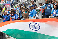 Indian fans fly the flag before the fixture between  India vs New Zealand, ICC World Cup Semi-Final Cricket at Old Trafford on 9th July 2019