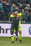 13.04.2019, Weser Stadion, Bremen, GER, 1.FBL, Werder Bremen vs SC Freiburg, <br /> <br /> DFL REGULATIONS PROHIBIT ANY USE OF PHOTOGRAPHS AS IMAGE SEQUENCES AND/OR QUASI-VIDEO.<br /> <br />  im Bild<br /> Florian Kohfeldt (Trainer SV Werder Bremen) bedankt sic h nach dem spiel bbei Stefanos Kapino (Werder Bremen #27)<br /> <br /> <br /> Foto © nordphoto / Kokenge