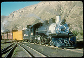 #499 K-36 hauling refrig car and cabooses at Durango.<br /> D&amp;RGW  Durango, CO