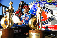 Jul. 26, 2009; Sonoma, CA, USA; NHRA top fuel dragster driver Antron Brown poses for a photo after winning the Fram Autolite Nationals at Infineon Raceway. The win was the third win in a row for Brown. Mandatory Credit: Mark J. Rebilas-