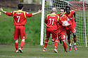 Scott Chaplain (10) celebrates after he scores Albion Rovers' first goal ......