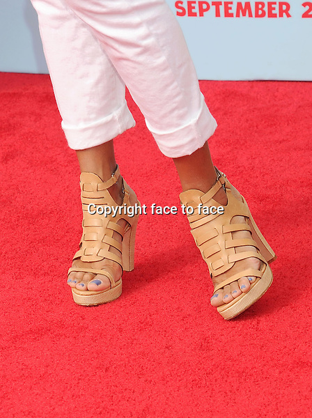 WESTWOOD, CA- SEPTEMBER 21: Actress Eva La Rue (shoe detail) at the Los Angeles premiere of 'Cloudy With A Chance Of Meatballs 2' at the Regency Village Theatre on September 21, 2013 in Westwood, California.(Eva La Rue)<br /> Credit: Mayer/face to face<br /> - No Rights for USA, Canada and France -