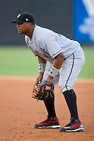 First baseman Dayan Viciedo #24 of the Birmingham Barons on defense versus the Carolina Mudcats at Five County Stadium August 15, 2009 in Zebulon, North Carolina. (Photo by Brian Westerholt / Four Seam Images)