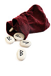 Rune stones, runes with velvet bag - symbol for fortune telling