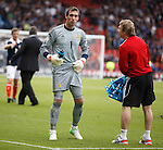 Allan McGregor seeks treatment for his groin at the end of the game
