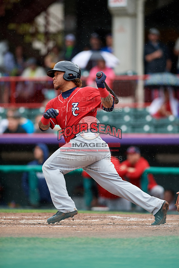 New Hampshire Fisher Cats right fielder Harold Ramirez (23) follows through on a swing during a game against the Erie SeaWolves on June 20, 2018 at UPMC Park in Erie, Pennsylvania.  New Hampshire defeated Erie 10-9.  (Mike Janes/Four Seam Images)