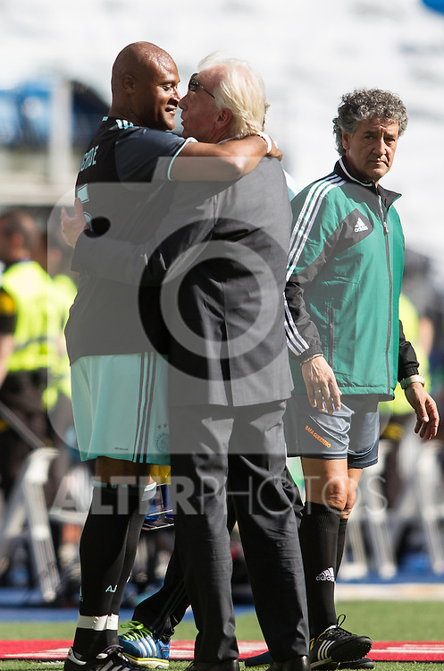 Wiston Bogarde and Leo Beenhakker during the Corazon Classic Match 2016 at Estadio Santiago Bernabeu between Real Madrid Legends and Ajax Legends. Jun 5,2016. (ALTERPHOTOS/Rodrigo Jimenez)