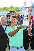 Brooks Koepka (USA) hoists the trophy following Sunday's round 4 of the 117th U.S. Open, at Erin Hills, Erin, Wisconsin. 6/18/2017.<br /> Picture: Golffile | Ken Murray<br /> <br /> <br /> All photo usage must carry mandatory copyright credit (&copy; Golffile | Ken Murray)