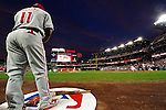 28 September 2010: Philadelphia Phillies' infielder Jimmy Rollins starts on deck awaiting the start of play against the Washington Nationals at Nationals Park in Washington, DC. The Nationals defeated the Phillies 2-1 on an Adam Dunn walk-off solo homer in the 9th inning to even up their 3-game series one game apiece. Mandatory Credit: Ed Wolfstein Photo