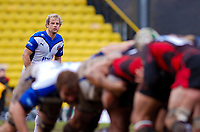 Nick Abendanon watches the scrum onfold from his position in the backline. Guinness Premiership match between Saracens and Bath on February 28, 2010 at Vicarage Road in Watford, England. [Mandatory Credit: Patrick Khachfe/Onside Images]