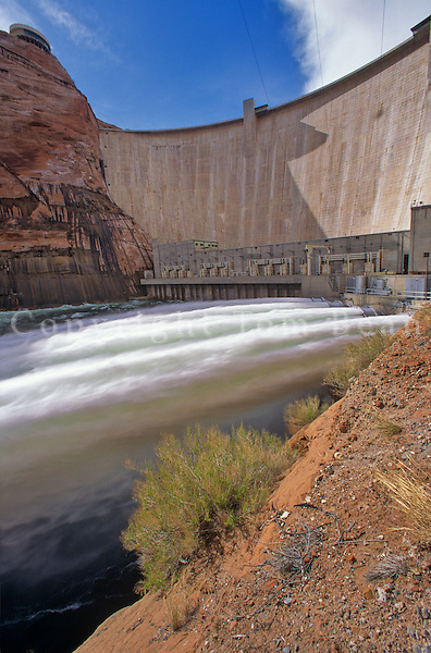 Water shoots from water jets at the Glen Canyon Dam on the Colorado River, Page, Arizona, AGPix_0290.