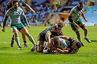 5th January 2020; Ricoh Arena, Coventry, West Midlands, England; English Premiership Rugby, Wasps versus Northampton Saints; Taqele Naiyaravoro of Northampton Saints scores the final try of the game in the last minute for Northampton Saints to win 35-31  - Editorial Use
