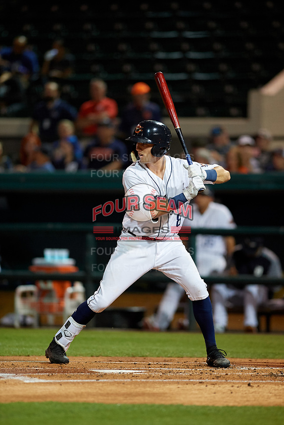 Lakeland Flying Tigers second baseman Kody Clemens (8) at bat during a Florida State League game against the Tampa Tarpons on April 5, 2019 at Publix Field at Joker Marchant Stadium in Lakeland, Florida.  Lakeland defeated Tampa 5-3.  (Mike Janes/Four Seam Images)