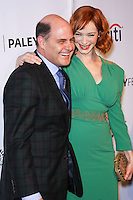 "HOLLYWOOD, LOS ANGELES, CA, USA - MARCH 21: Matthew Weiner, Christina Hendricks at the 2014 PaleyFest - ""Mad Men"" held at Dolby Theatre on March 21, 2014 in Hollywood, Los Angeles, California, United States. (Photo by Celebrity Monitor)"