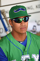 Lexington Legends outfielder Alfredo Escalera-Maldonado (26) in the dugout before a game against the Hagerstown Suns on May 19, 2014 at Whitaker Bank Ballpark in Lexington, Kentucky.  Lexington defeated Hagerstown 10-8.  (Mike Janes/Four Seam Images)