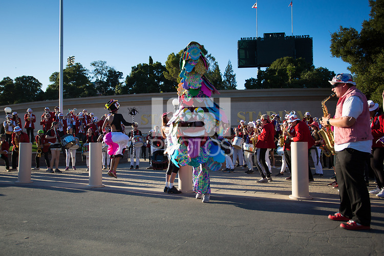 Stanford, CA - October 5, 2019: Stanford Marching Band at Stanford Stadium. The Stanford Cardinal beat the University of Washington Huskies 23-13.