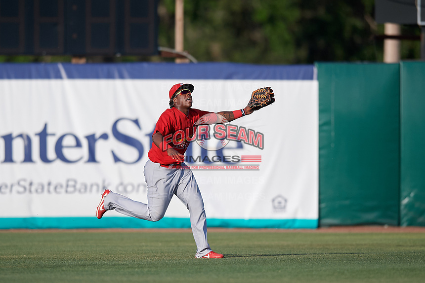 Palm Beach Cardinals center fielder Johan Mieses (37) settles under a fly ball during a game against the Florida Fire Frogs on May 1, 2018 at Osceola County Stadium in Kissimmee, Florida.  Florida defeated Palm Beach 3-2.  (Mike Janes/Four Seam Images)