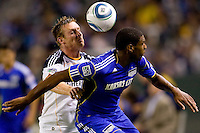 LA Galaxy midfielder Chris Birchall battles Kansas City Wizard midfielder Craig Rocastle for the loose ball. The Kansas City Wizards beat the LA Galaxy 2-0 at Home Depot Center stadium in Carson, California on Saturday August 28, 2010.