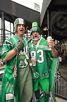 July 12, 2008; Hamilton, ON, CAN; Saskatchewan Roughriders supporters attend the CFL football game against the Hamilton Tiger-Cats at Ivor Wynne Stadium. The Roughriders defeated the Tiger-Cats 33-28. Mandatory Credit: Ron Scheffler.
