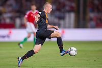 Netherlands' Jordy Clasie kicks the ball during a World Cup 2014 qualifying soccer match Hungary playing against Netherlands in Budapest, Hungary on September 11, 2012. ATTILA VOLGYI