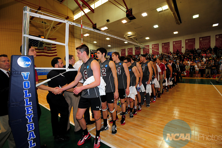 26 Apr 2015:  Post match handshakes between Stevens Institute of Technology , right, and Springfield College after the Division III Men's Volleyball Championship at Canavan Arena in Hoboken, NJ. Stevens Institute defeated Springfield College 3-0 to win the national title.  Porter Binks/NCAA Photos