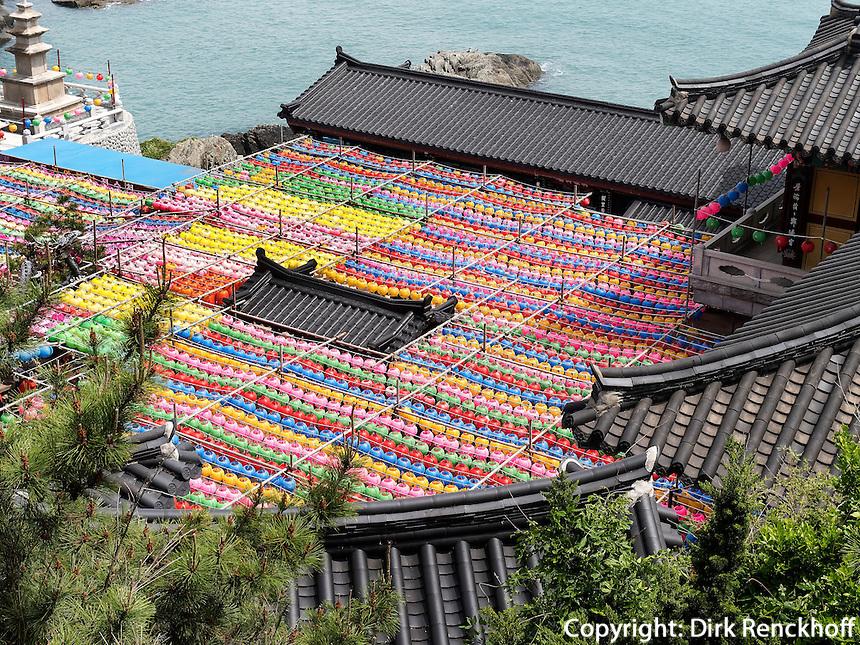Schmuck zu Buddha's Geburtstagbuddhistischer Tempel Haedong Yonggungsa, Busan, Gyeongsangnam-do, S&uuml;dkorea, Asien<br /> Decoration at Buddha's birthday, buddhist temple Haedong Yonggungsa, Busan,  province Gyeongsangnam-do, South Korea, Asia