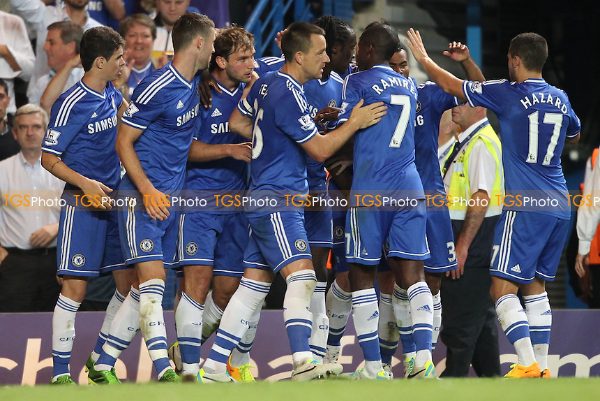 Chelsea celebrates Branislav Ivanovic's winner - Chelsea vs Aston Villa - Barclays Premier League Football at Stamford Bridge, Fulham Road, London - 21/08/13 - MANDATORY CREDIT: Simon Roe/TGSPHOTO - Self billing applies where appropriate - 0845 094 6026 - contact@tgsphoto.co.uk - NO UNPAID USE